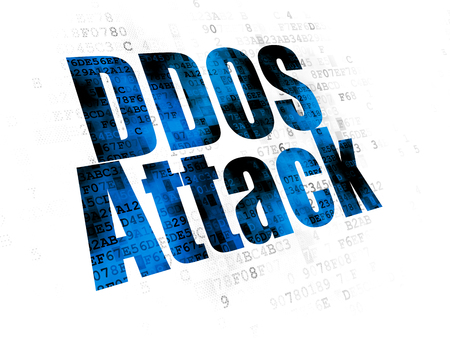 pin code: Safety concept: Pixelated blue text DDOS Attack on Digital background