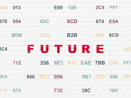 Time concept: Painted red text Future on White Brick wall background with Hexadecimal Code