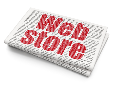 Web design concept: Pixelated red text Web Store on Newspaper background, 3D rendering Stock Photo