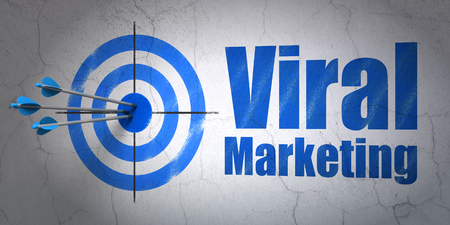 Success advertising concept: arrows hitting the center of target, Blue Viral Marketing on wall background, 3D rendering