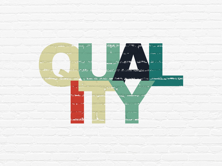 Advertising concept: Painted multicolor text Quality on White Brick wall background