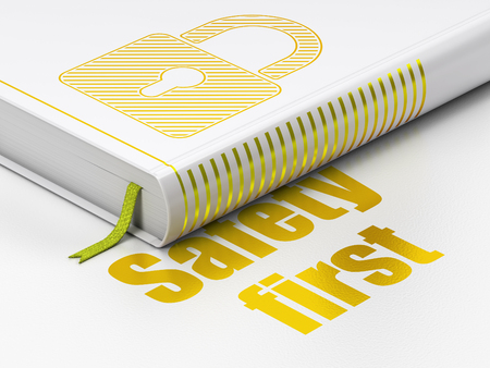 Privacy concept: closed book with Gold Closed Padlock icon and text Safety First on floor, white background, 3D rendering Stock Photo