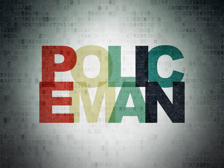 Law concept: Painted multicolor text Policeman on Digital Data Paper background Stock Photo
