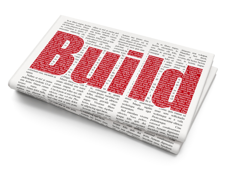 Construction concept: Pixelated red text Build on Newspaper background, 3D rendering