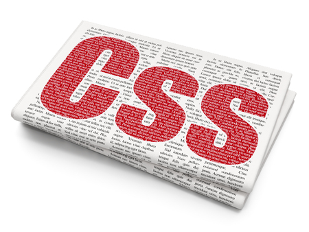 xml: Database concept: Pixelated red text Css on Newspaper background, 3D rendering