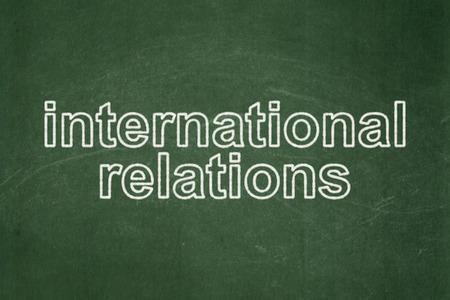 Politics concept: text International Relations on Green chalkboard background