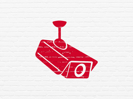 Privacy concept: Painted red Cctv Camera icon on White Brick wall background