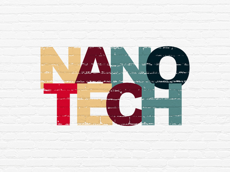 Science concept: Painted multicolor text Nanotech on White Brick wall background
