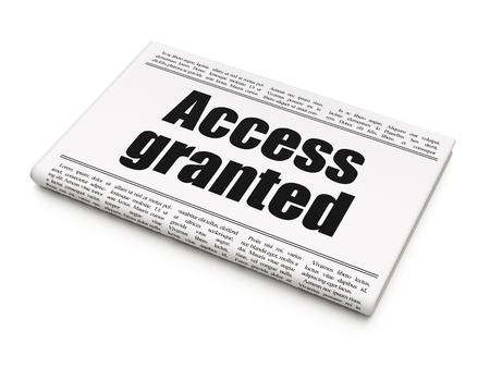 Privacy concept: newspaper headline Access Granted on White background, 3D rendering