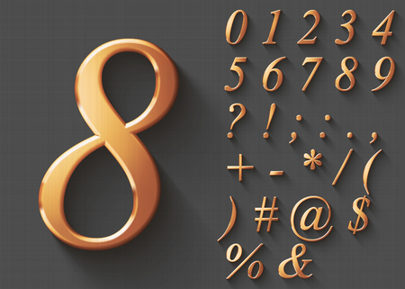 Set of golden luxury 3D Numbers and Characters. Golden metallic shiny italic symbols on gray background. Good set for wealth and jewel concepts. Transparent shadow, EPS 10 vector illustration. Illustration