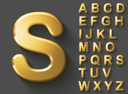 Set of golden luxury 3D uppercase english letters. Golden metallic shiny bold font on gray background. Good typeset for wealth and jewel concepts. Transparent shadow, EPS 10 vector illustration. Vettoriali