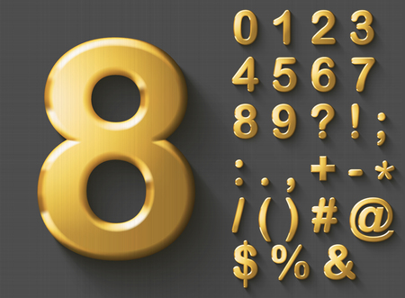 Set of golden luxury 3D Numbers and Characters. Golden metallic shiny bold symbols on gray background. Good set for wealth and jewel concepts. Transparent shadow, EPS 10 vector illustration.
