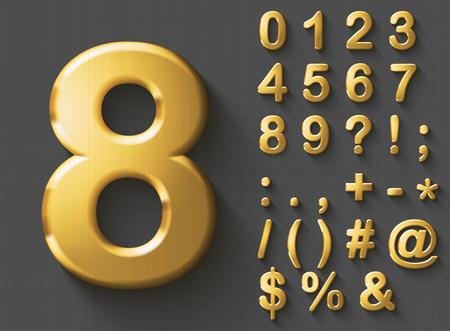 Set van gouden luxe 3D-nummers en tekens. Gouden metaal glanzende gewaagde symbolen op grijze achtergrond. Goede set voor rijkdom en juweelconcepten. Transparante schaduw, EPS-10 vectorillustratie. Stock Illustratie