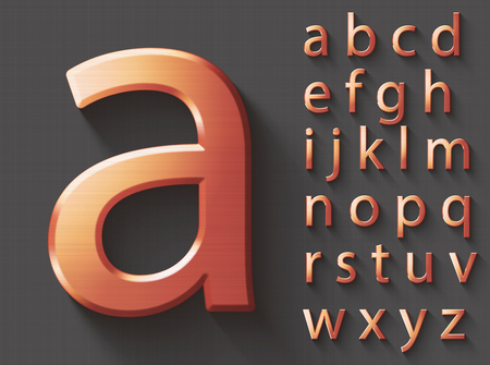 Set of copper 3D lowercase english letters. Copper metallic shiny font on gray background. Good typeset for technology and production concepts.