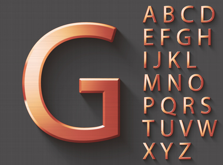 Set of copper 3D uppercase english letters. Copper metallic shiny font on gray background. Good typeset for technology and production concepts. Stock Photo