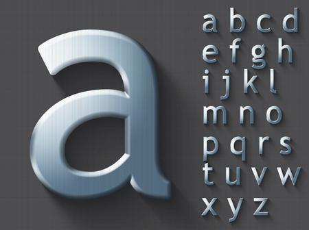 Set gepolijste stalen 3D kleine letters in het Engels. Stalen metallic glanzende lettertype op grijze achtergrond. Goed gezet voor technologie- en productieconcepten. Transparante schaduw, EPS-10 vectorillustratie.