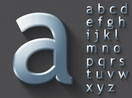 Set of polished steel 3D lowercase english letters. Steel metallic shiny font on gray background. Good typeset for technology and production concepts. Transparent shadow, EPS 10 vector illustration.