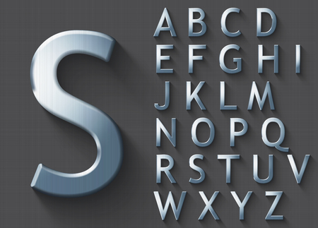 Set of polished steel 3D uppercase english letters. Steel metallic shiny font on gray background. Good typeset for technology and production concepts. Transparent shadow, EPS 10 vector illustration. Stock Vector - 88543204
