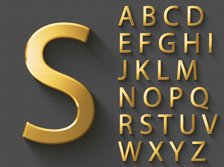 Golden luxury 3D alphabet: uppercase English letters. Metallic font on gray background. Good typeface for wealth and jewel concepts. ABC letters with transparent shadow, EPS 10 vector illustration.