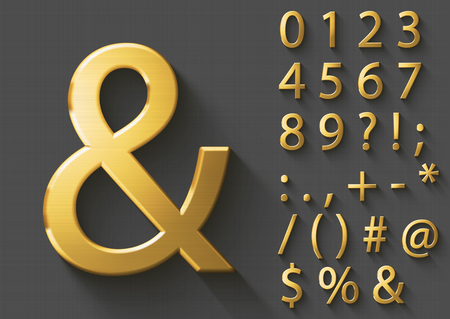 Set of polished golden 3D Numbers and Symbols. Golden metallic shiny typeface on gray background. Good font for wealth and luxury concepts. Transparent shadow, EPS 10 vector illustration.