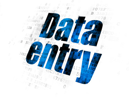 Data concept: Pixelated blue text Data Entry on Digital background
