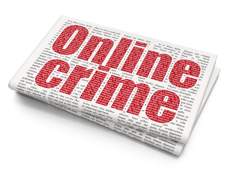 Protection concept: Pixelated red text Online Crime on Newspaper background, 3D rendering Stock Photo
