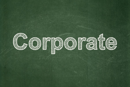 Finance concept: text Corporate on Green chalkboard background Banco de Imagens
