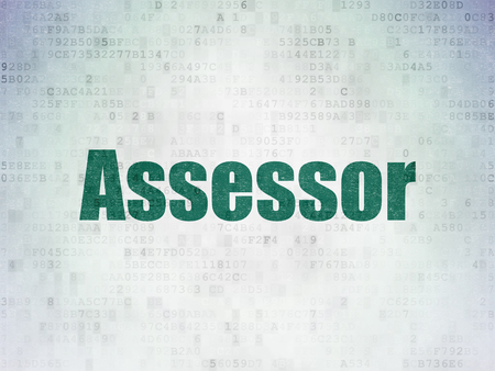 Insurance concept: Painted green word Assessor on Digital Data Paper background Imagens