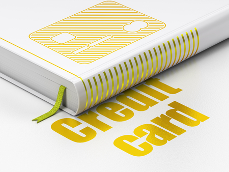 electronic book: Money concept: closed book with Gold Credit Card icon and text Credit Card on floor, white background, 3D rendering