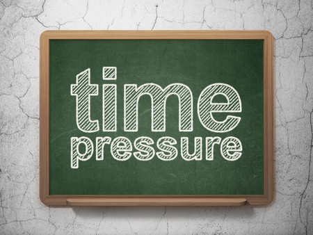 Timeline concept: text Time Pressure on Green chalkboard on grunge wall background, 3D rendering Stock Photo