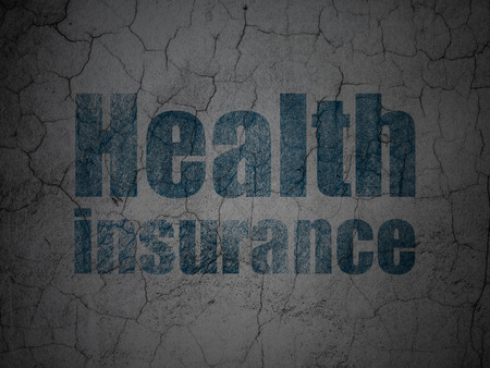 Insurance concept: Blue Health Insurance on grunge textured concrete wall background Stock Photo - 88995357