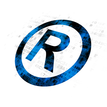 Law concept: Pixelated blue Registered icon on Digital background Stock Photo