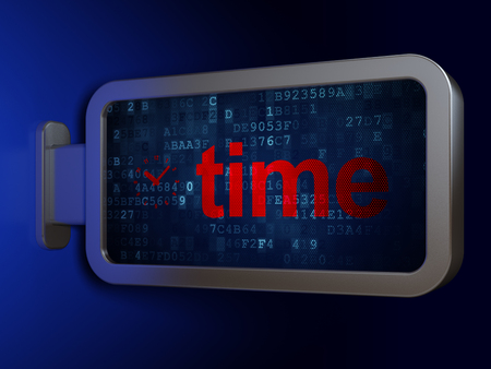Timeline concept: Time and Clock on advertising billboard background, 3D rendering