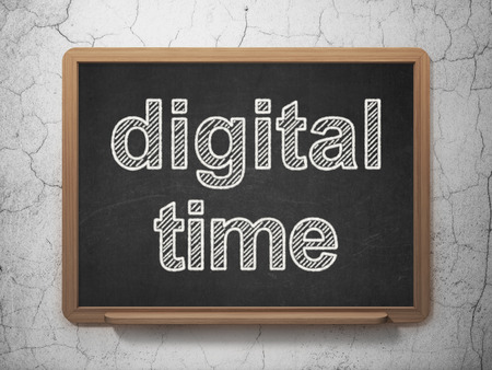 Time concept: text Digital Time on Black chalkboard on grunge wall background, 3D rendering