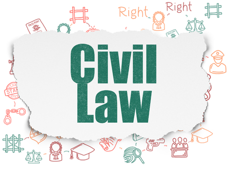 Law concept: Painted green text Civil Law on Torn Paper background with Scheme Of Hand Drawn Law Icons