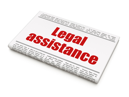 Law concept: newspaper headline Legal Assistance on White background, 3D rendering