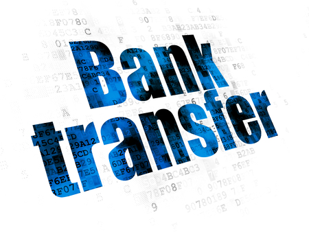 Banking concept: Pixelated blue text Bank Transfer on Digital background