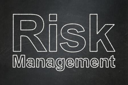Business concept: text Risk Management on Black chalkboard background
