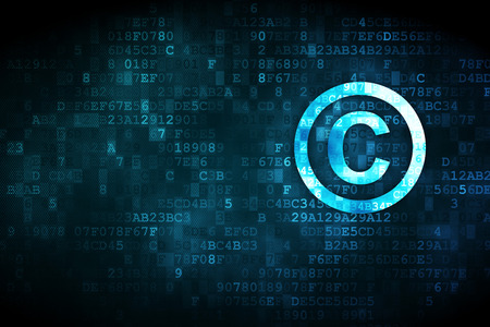 Law concept: pixelated Copyright icon on digital background, empty copyspace for card, text, advertising