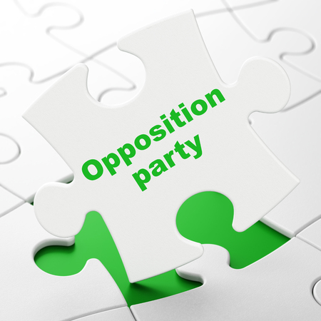 Politics concept: Opposition Party on White puzzle pieces background, 3D rendering