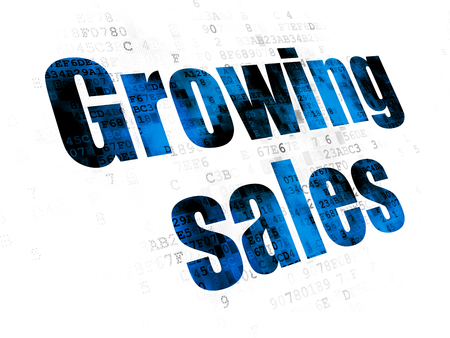 pixelated: Business concept: Pixelated blue text Growing Sales on Digital background Stock Photo