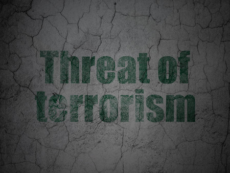 Politics concept: Green Threat Of Terrorism on grunge textured concrete wall background Stock Photo
