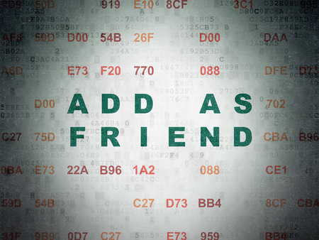Social media concept: Painted green text Add as Friend on Digital Data Paper background with Hexadecimal Code