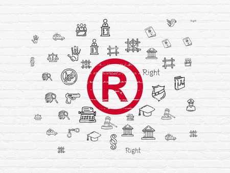 r regulation: Law concept: Painted red Registered icon on White Brick wall background with  Hand Drawn Law Icons