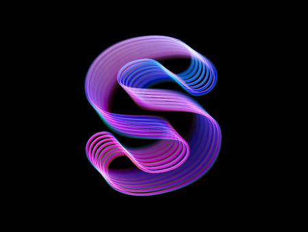 3D letter S logo. Modern technology digital logotype design. Letter S consisting of pink glowing curves. Good logo for information technology, science, energy companies. Eps 10, vector illustration. Ilustração