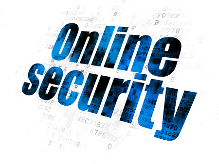 Protection concept: Pixelated blue text Online Security on Digital background Stock Photo