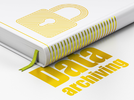 Data concept: closed book with Gold Closed Padlock icon and text Data Archiving on floor, white background, 3D rendering Banco de Imagens