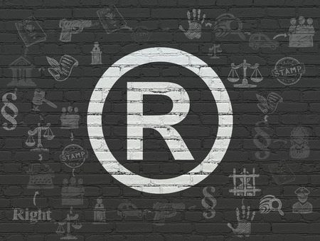 r regulation: Law concept: Painted white Registered icon on Black Brick wall background with Scheme Of Hand Drawn Law Icons