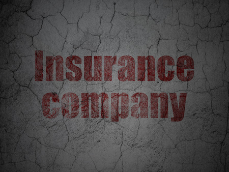 Insurance concept: Red Insurance Company on grunge textured concrete wall background Stock Photo - 90528635