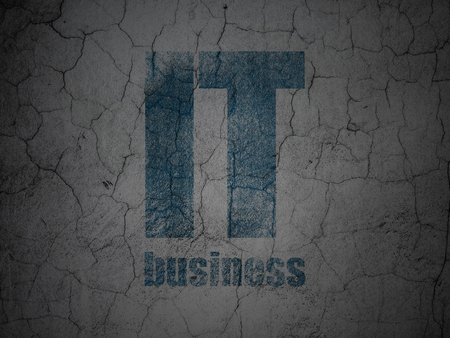 Business concept: Blue IT Business on grunge textured concrete wall background Stock Photo